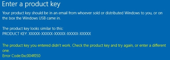 fix windows 10 activation error 0xc004f050