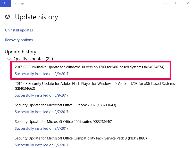 windows 10 update history check