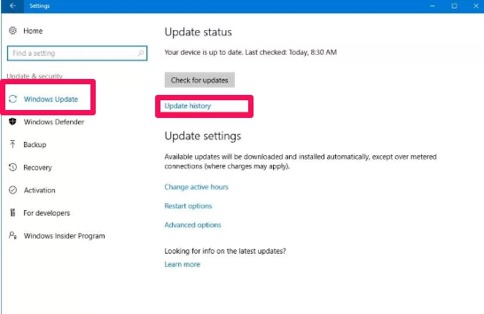 windows 10 update history settings