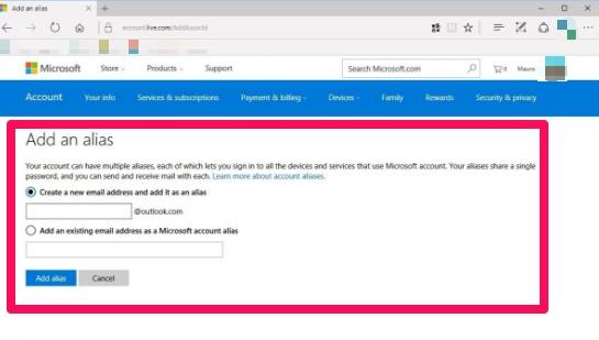 add a new alias to a microsoft account