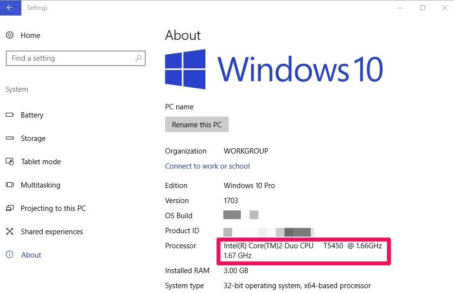 intel processor on windows 10