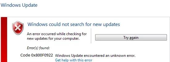 fix 0x800F0922 windows 10 error