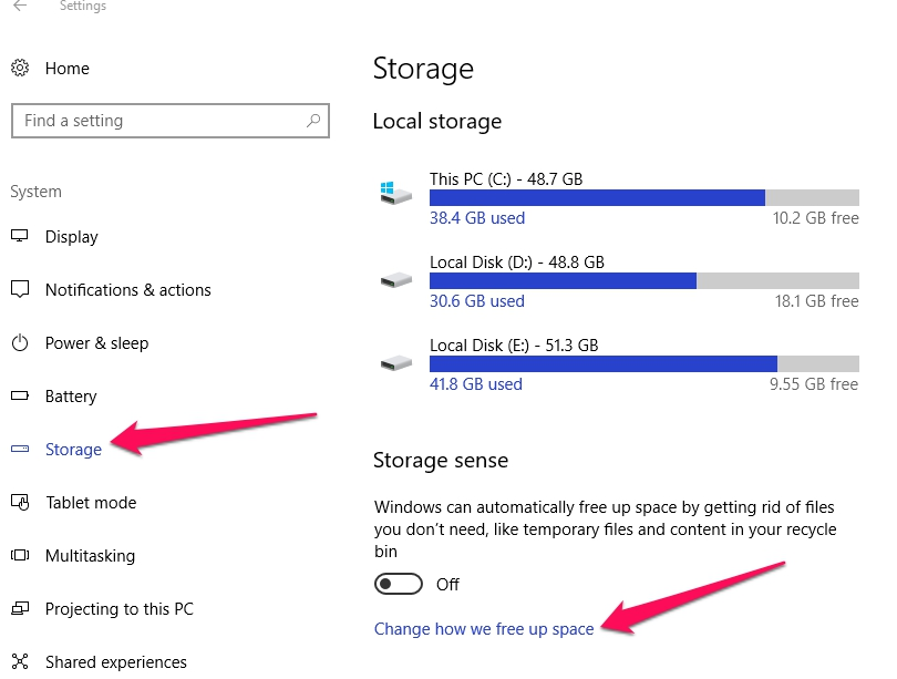 change how we free up space system storage windows 10